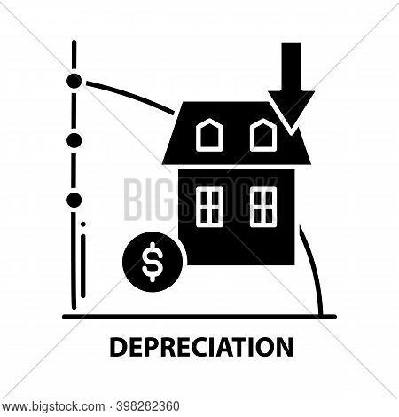Depreciation Icon, Black Vector Sign With Editable Strokes, Concept Illustration