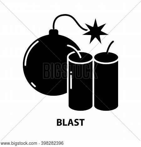 Blast Icon, Black Vector Sign With Editable Strokes, Concept Illustration