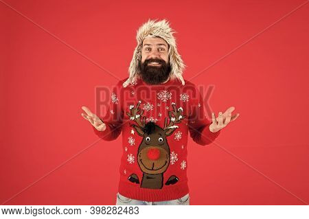 Invitation Ugly Sweaters Party. Sweater With Deer. Hipster Bearded Man Wear Winter Sweater And Hat.