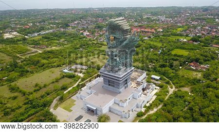 Aerial View Of The Closed Cultural Park Garuda Vishnu Kencana With The Statue Of Vishnu And The Myth