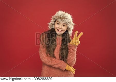 Peace To All. Child Long Hair Soft Hat. Winter Fashion Concept. Warm Hat For Cold Winter Weather. Ki