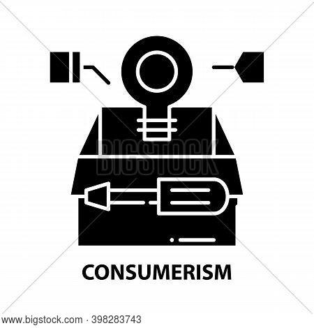 Consumerism Icon, Black Vector Sign With Editable Strokes, Concept Illustration