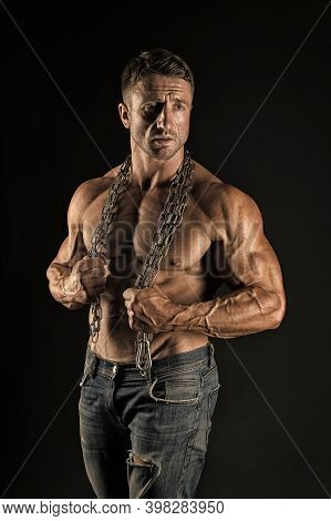 Fight For Fitness. Fit Man With Metal Chain Black Background. Athletic Guy With Muscular Torso. Sexy