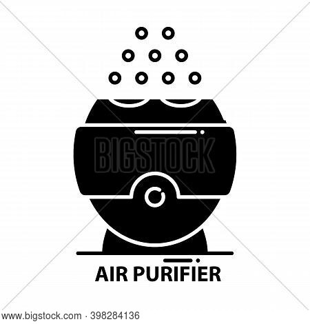 Air Purifier Icon, Black Vector Sign With Editable Strokes, Concept Illustration