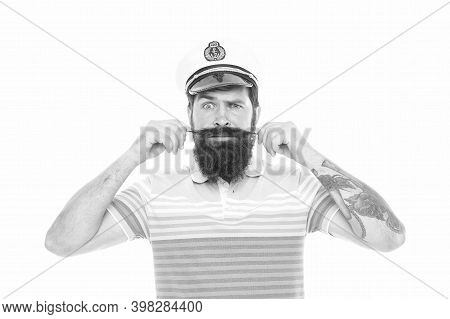 Every Hipster Needs Beard. Hipster Twirl Mustache Isolated On White. Bearded Seaman Wear Hipster Bea
