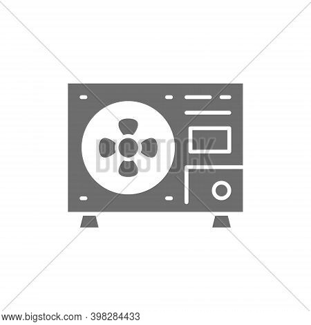 External Air Conditioning Unit, Residential Outdoor Unit Grey Icon.