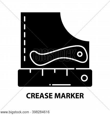 Crease Marker Icon, Black Vector Sign With Editable Strokes, Concept Illustration