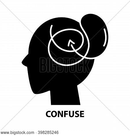 Confuse Icon, Black Vector Sign With Editable Strokes, Concept Illustration