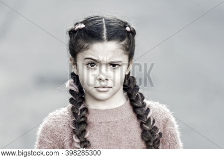 Look. Kanekalon Strand In Braids Of Child. Braided Hairstyle Concept. Girl With Braided Hair Style P