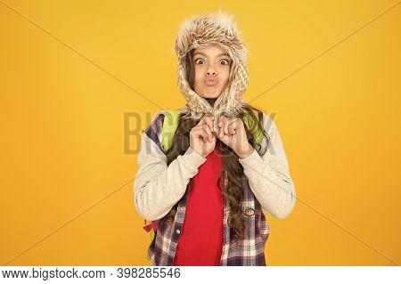 Freezing Here. Eskimo Funny Schoolgirl Try On Hat Enjoy Softness. Winter Season Concept. Northern Re