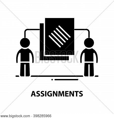Assignments Icon, Black Vector Sign With Editable Strokes, Concept Illustration