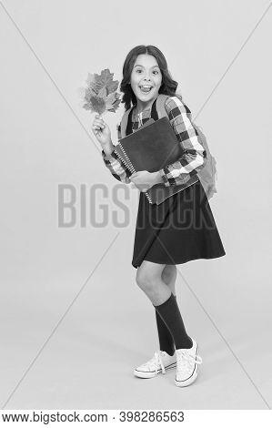 School Education Concept. Girl Enjoying Autumn Season. Back To Studying. Little Schoolgirl With Scho