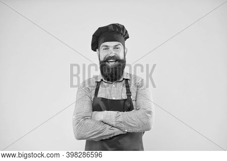 Every Need Catered. Man Cooking On Kitchen. Professional Chef Man Excited. Excellent Cook Or Baker.