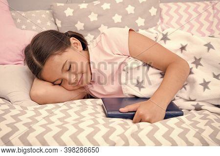 More You Read, Better You Sleep. Little Child Sleep In Bed. Sleepy Time. Bedtime. Childhood Sleep. H