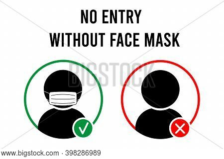 No Entry Without Face Mask Sign. No Face Mask No Entry. Icon. Warning Sign. Vector Front Door Plate.