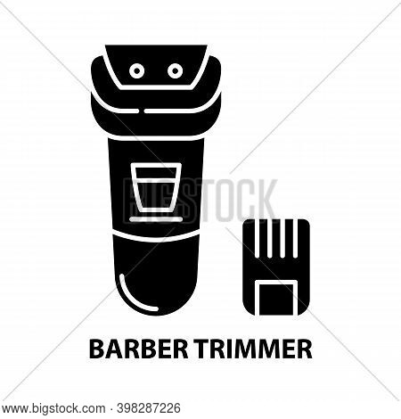 Barber Trimmer Icon, Black Vector Sign With Editable Strokes, Concept Illustration