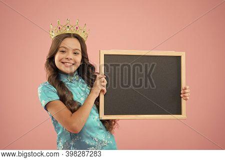 Happy Childhood. Cheerful Princess Hold School Blackboard. School Of Success. School Prom Party Adve