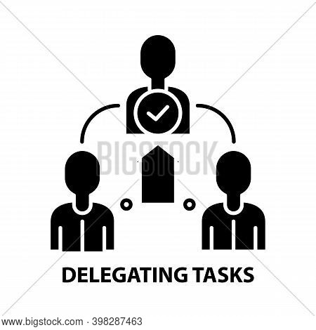Delegating Tasks Icon, Black Vector Sign With Editable Strokes, Concept Illustration