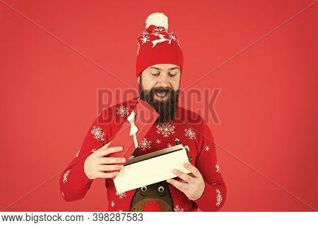 What Is Inside. Portrait Of Positive Bearded Man Feel Festive. Enjoy Xmas Celebration. Christmas Day