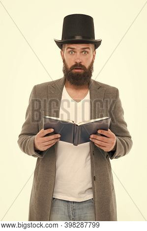Wow. Surprised Library Reader. Hipster Read Library Book. Bearded Man Wear Top Hat In Casual Style.