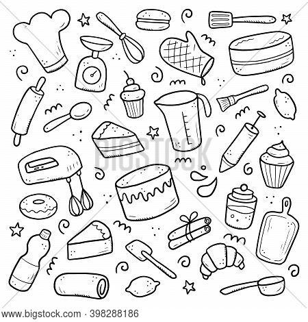 Hand Drawn Set Of Baking And Cooking Elements, Mixer, Cake, Spoon, Cupcake, Scale. Doodle Sketch Sty
