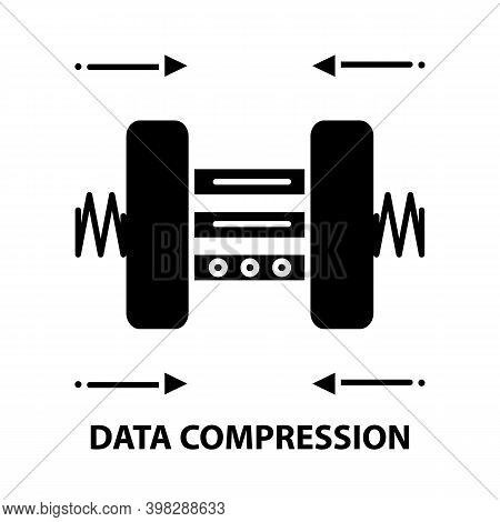 Data Compression Icon, Black Vector Sign With Editable Strokes, Concept Illustration