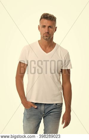 Set Your Trend. Middle-aged Man. Handsome Man Isolated On White. Man In Casual Style. Caucasian Man