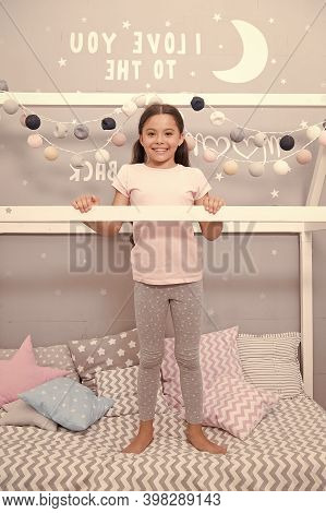 My Bedroom My Rules. Cute Cozy Bedroom For Small Girl. Girl Relaxing Bedroom Interior. Childhood Con