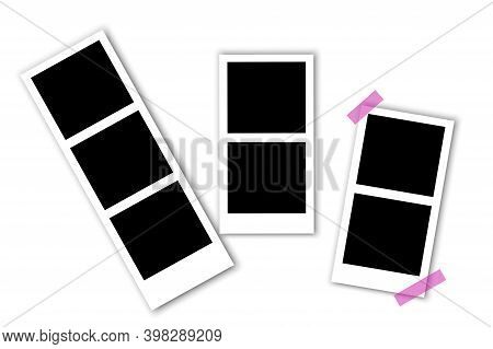 Vintage Picture With Black Retro Photo Film On White Background. Photo Frame. Scrapbook Design. Stoc