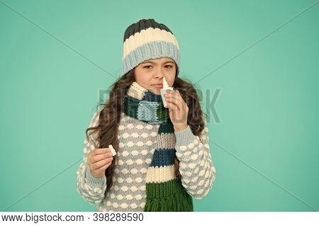 Breathe Free. Best Nasal Spray For Kids. Girl Hold Nasal Drops. Allergy. Home Treatment. Nasal Drops