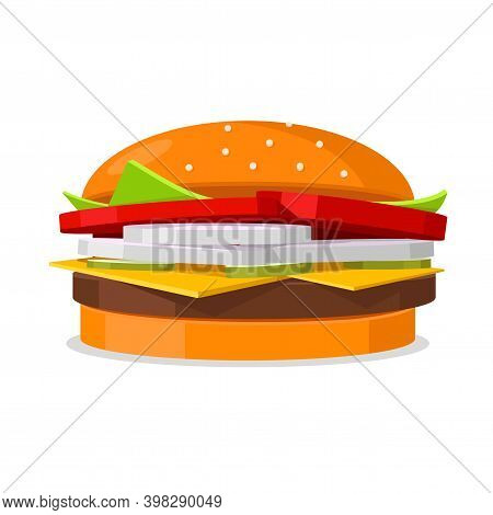 Vector Delicious Burger With Onion, Tomatoes, Cucumbers, Cheese And Salad. Tasty Meat Cutlet And Fre
