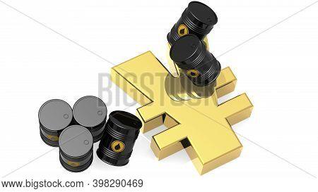 Black Crude Oil Barrels With Golden Japanese Yen Sign, 3d Rendering
