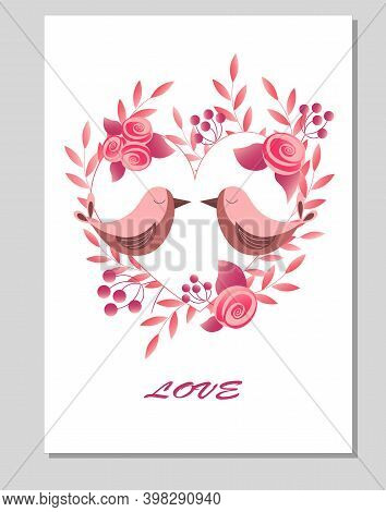 Postcard With Birds And Pink Flowers. Valentines Day. Vector Illustration. For Invitations, Congratu