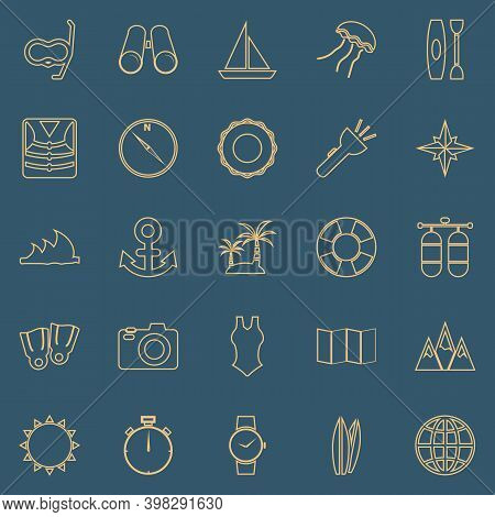 Diving Line Color Icons On Blue Background, Stock Vector