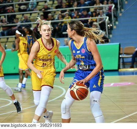 Orenburg, Russia - October 31, 2019: Girls Play Basketball