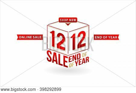 12.12 Sale, 12.12 Online Sale, End Of Year Sale, Cube Model Number Sign Red Ribbon With Isolated Bac