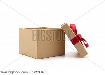 Gift Box Open Lid On Isolated On White Background With Romantic, Presents For Christmas Day Or Valen