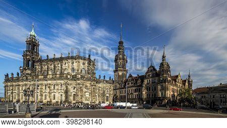 Dresden, Germany - June 05, 2013: Cathedral And Dresden Castle. View From The Dresden Gallery