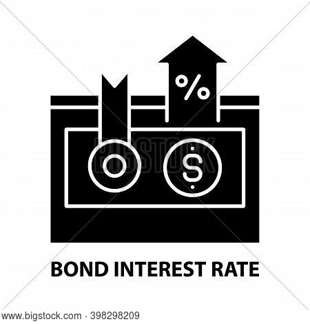 Bond Interest Rate Icon, Black Vector Sign With Editable Strokes, Concept Illustration