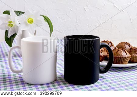 Black And White Mug Mockup With Chocolate Muffins.  Empty Mug Mock Up For Design Presentation.