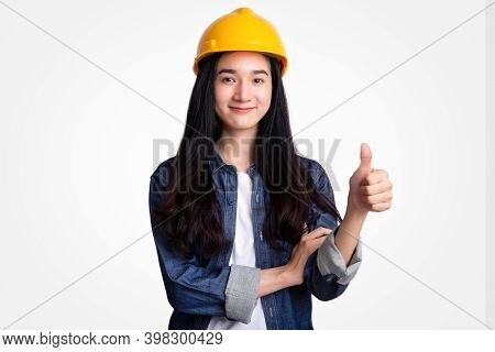 Portrait Woman Engineer With Yellow Safety Helmet Isolated On White Background
