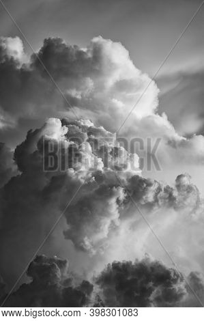 Dramatic Cloudscape At Sunset In Black And White