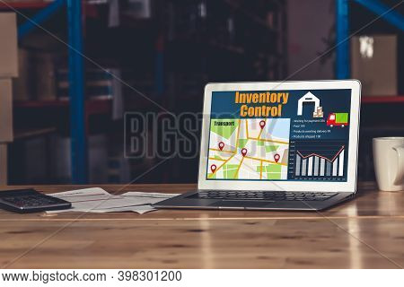 Warehouse Management Software Application In Computer For Real Time Monitoring Of Goods Package Deli