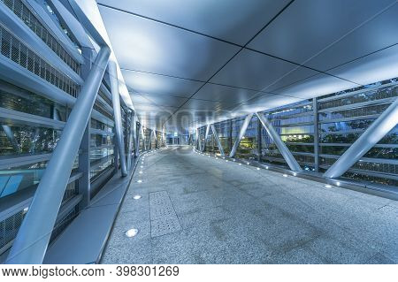 Empty Modern Pedestrian Walkway In Downtown At Night