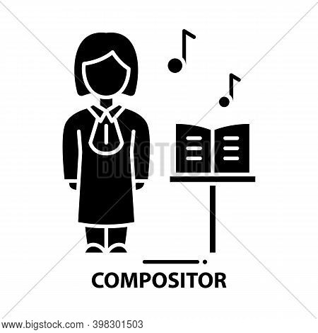 Compositor Icon, Black Vector Sign With Editable Strokes, Concept Illustration
