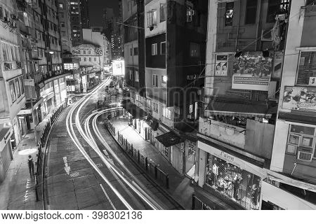 Hong Kong, China - November 26, 2020 : Traffic In Old Street Of Central District Of Hong Kong City A