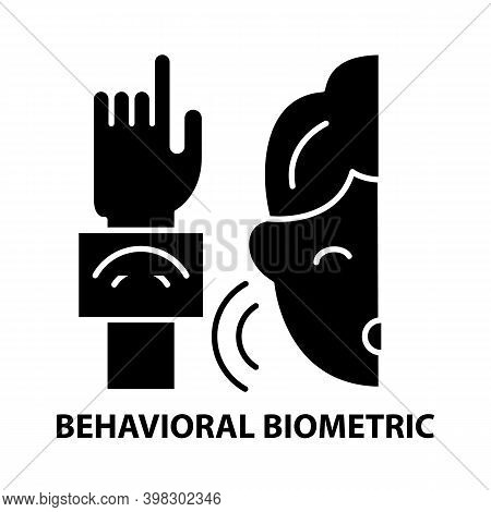 Behavioral Biometric Icon, Black Vector Sign With Editable Strokes, Concept Illustration