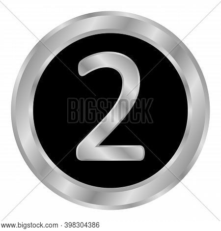 Gold Number Two Button On White Background. Vector Illustration.