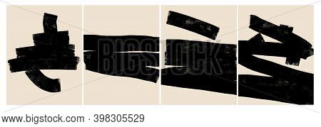 Four Abstract Minimalistic Paintings.black Horizontal Lines Drawn Carelessly With A Paint Roller And