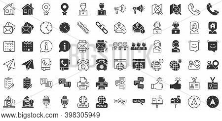 Contact Us Thin Line Icon Set In Flat Style. Mobile Communication Vector Illustration On White Isola